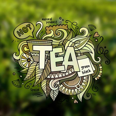 tea plantation: Tea hand lettering and doodles elements illustration Illustration