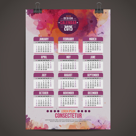 Calendar with watercolor paint 2015 Vector