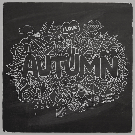 Autumn hand lettering and doodles elements chalkboard Vector