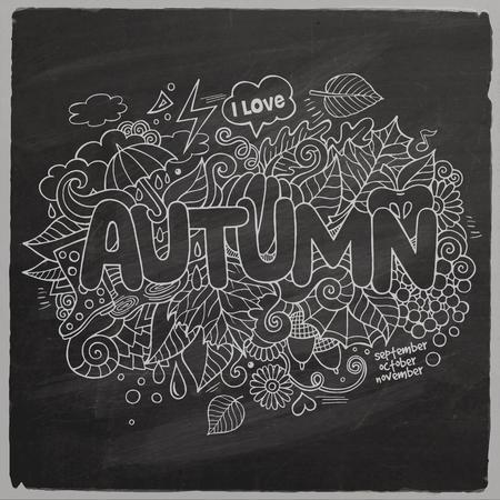zapatos escolares: Letras de la mano de otoño y doodles elementos pizarra