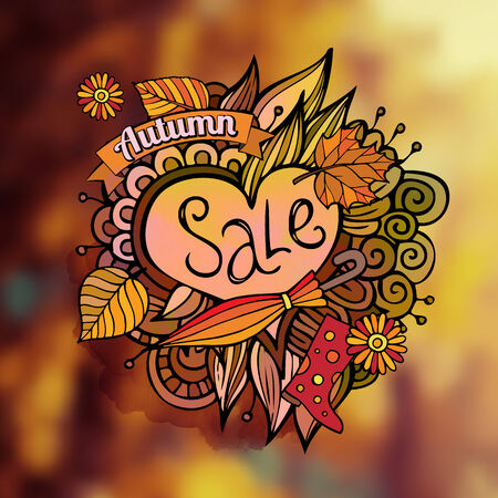Vector decorative autumn sale blurred background Vector