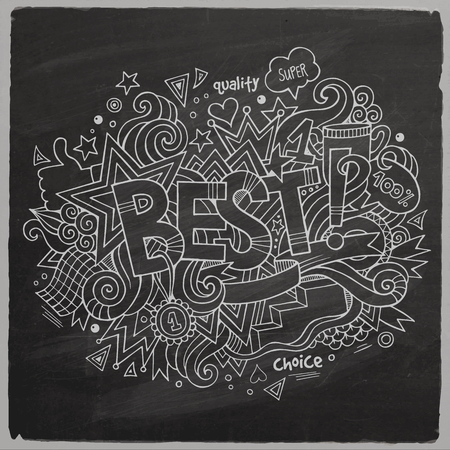 first job: Best hand lettering and doodles elements chalkboard back