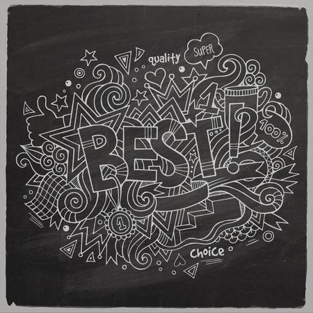 best hand: Los mejores elementos de letras de la mano y doodles pizarra espalda Vectores
