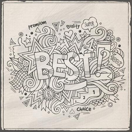 best hand: Mejor mano letras y garabatos elementos de fondo Vectores