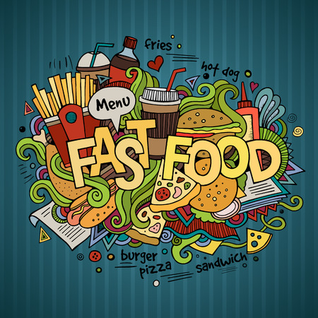 Fast food hand lettering and doodles elements background Vector