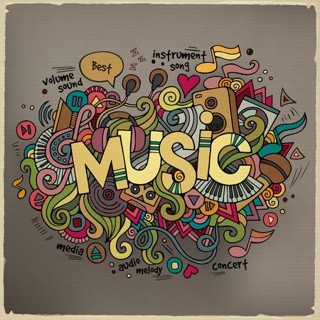 microfono de radio: Hand lettering Música y doodles elementos de fondo