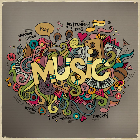 funky music: Music hand lettering and doodles elements background