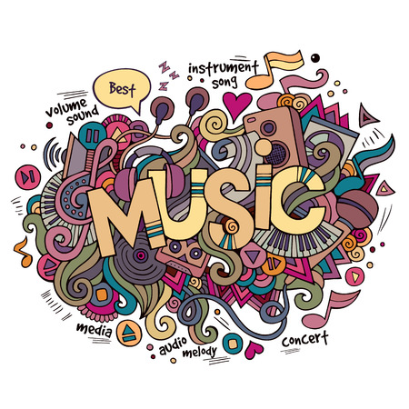 Music hand lettering and doodles elements background. Vector