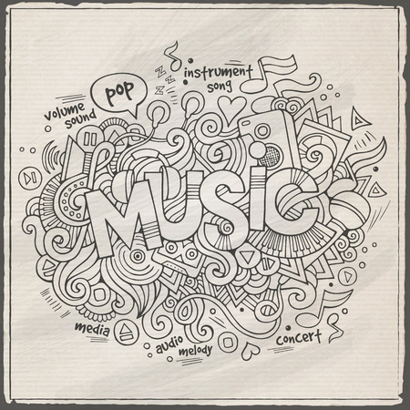 Music hand lettering and doodles elements background Vector