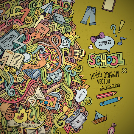 school teacher: Abstract vector decorative doodles school background.