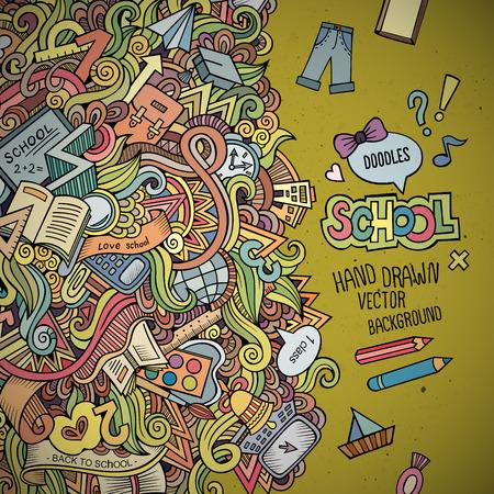Abstract vector decorative doodles school background.