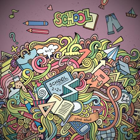 semester: Abstract vector decorative doodles school background.