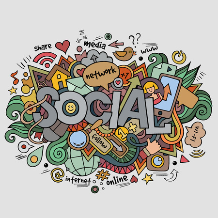 social network icon: Social hand lettering and doodles elements background Illustration
