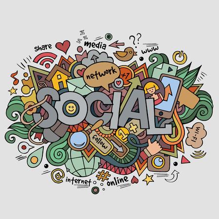 Social hand lettering and doodles elements background Illustration