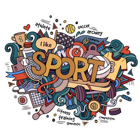 ping pong: Letras de la mano Deporte y doodles elementos de fondo.
