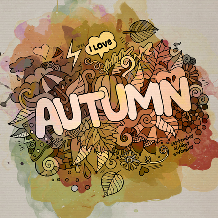 Autumn hand lettering and doodles elements background Vector