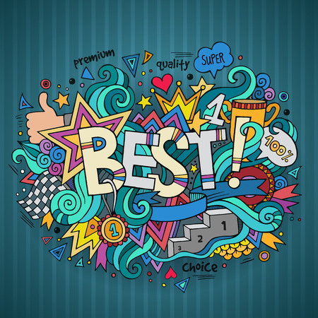 best friends: Best hand lettering and doodles elements background
