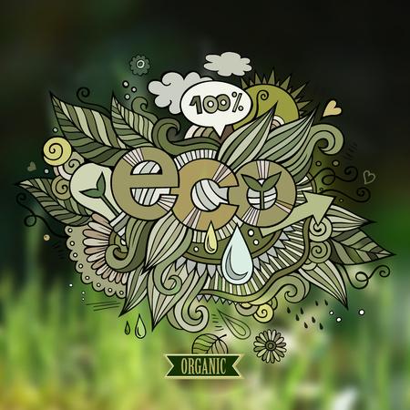 eco slogan: Eco elementos letras de la mano y garabatos ilustraci�n