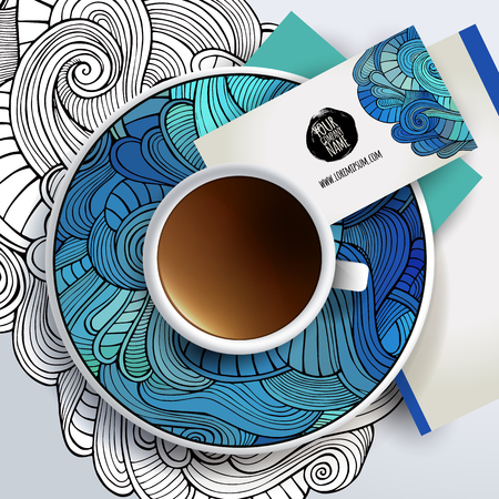 hand business card: Vector Cup of coffee and floral ornament