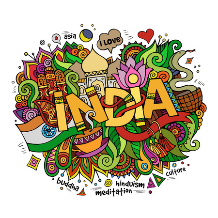 serpiente cobra: India elementos letras de la mano y doodles fondo