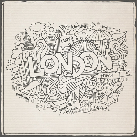 London hand lettering and doodles elements background Vector