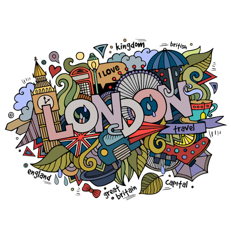 british weather: London hand lettering and doodles elements background.