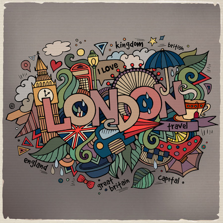 London hand lettering and doodles elements background. Vector