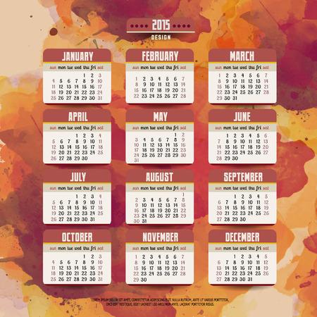 Calendar with watercolor paint 2015 design Vector