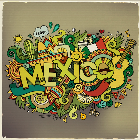 Mexico hand lettering and doodles elements background. Vector il Vector
