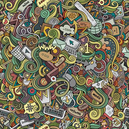 doodles internet social media seamless pattern Ilustrace