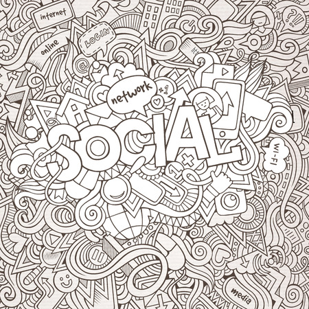 Social hand lettering and doodles elements background Illustration
