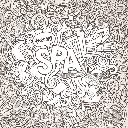 Spa hand lettering and doodles elements background. Vector