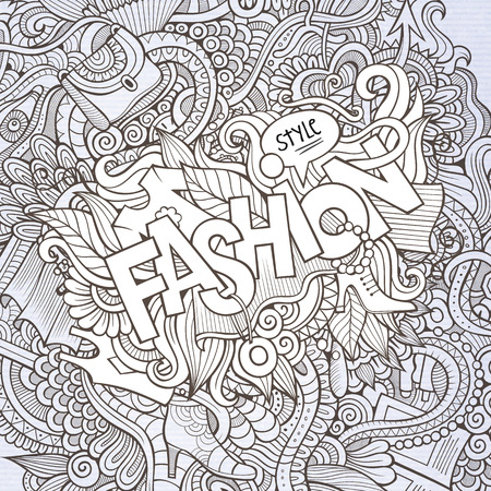 Fashion hand lettering and doodles elements background Vector
