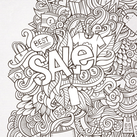 Sale hand lettering and doodles elements background Vector