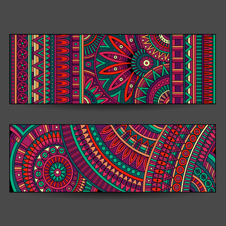 disegni cachemire: Insieme di schede modello etnico
