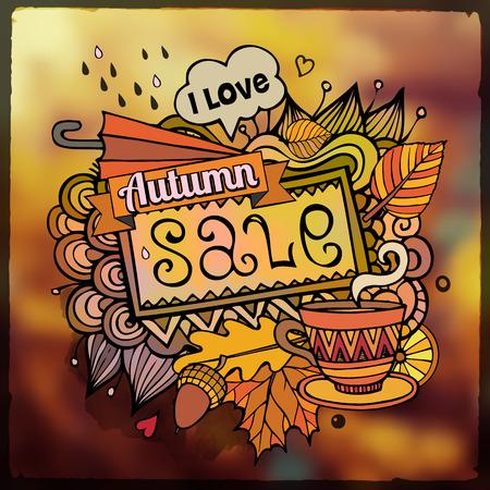 Vector decoratieve abstracte herfst verkoop wazig achtergrond Stock Illustratie