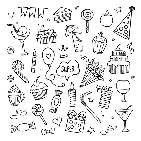 doodle art: Vector set of different hand drawn holiday elements