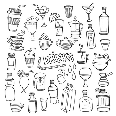 Vector set of different hand drawn beverages. Vector illustration Vector