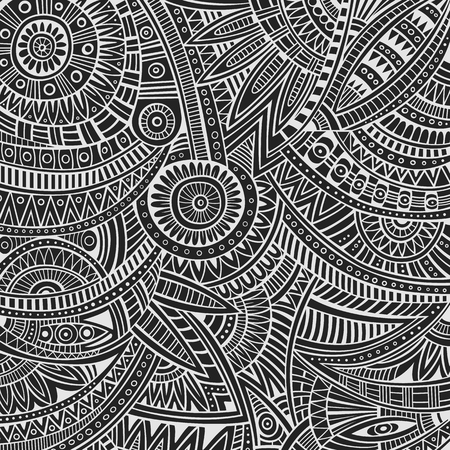 Abstract vector hand drawn sketch tribal ethnic background Illustration