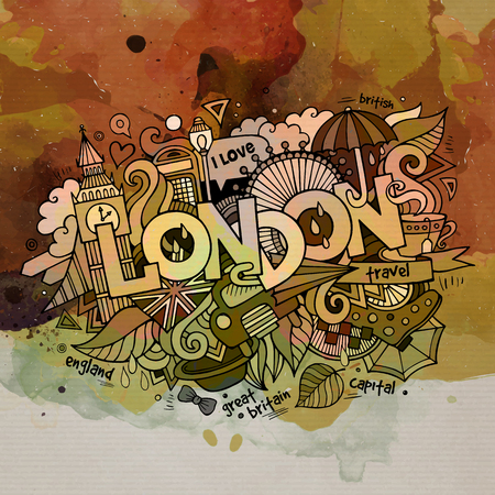popular tale: London watercolor doodles elements background.