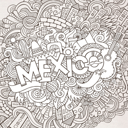 Mexico hand lettering and doodles elements background Vector