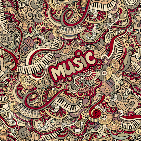 doodles music seamless pattern Vector
