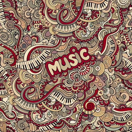 doodles music seamless pattern Иллюстрация