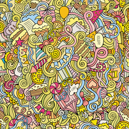 cakes background: doodles hand drawn holiday seamless pattern