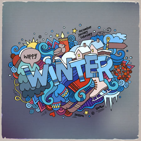 Winter hand lettering and doodles elements background 向量圖像