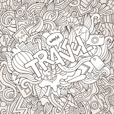 Travel hand lettering and doodles elements background