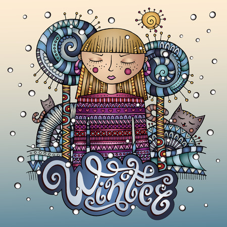 winter girl: Vector decorative cartoon winter girl postcard