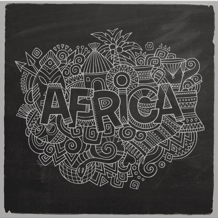 Africa Vector hand lettering and doodles elements chalkboard background Vector
