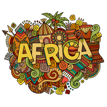 hut: Africa hand lettering and doodles elements background. Vector illustration