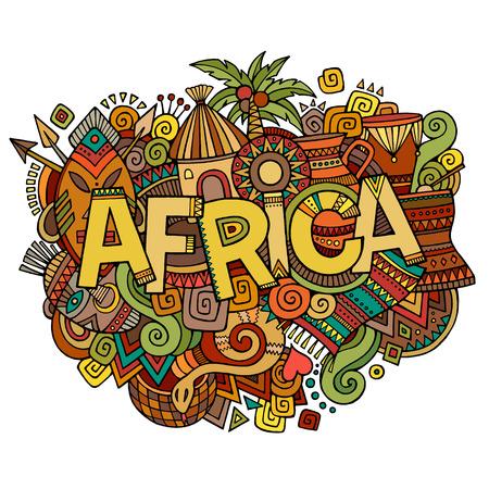 continente africano: Mano letras África y garabatos elementos de fondo. Ilustración vectorial